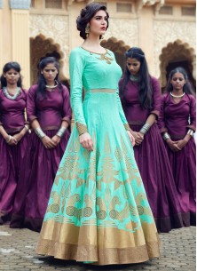 Aqua Banglori Silk Pure Hand Work Stitched Anarkali Suit