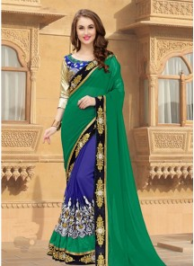 Aristocratic Green With Blue Embroidery Work Designer Saree