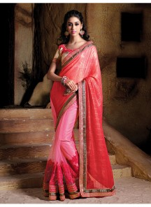 Aristocratic Pink Embroidered Work  Designer Saree