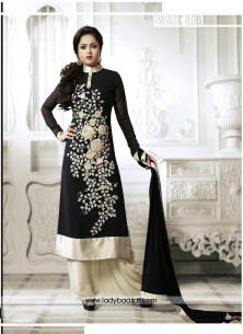 Arresting Black Embroidered Work Designer Palazzo Salwar Suit