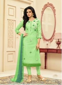 Arresting Green Chanderi Embroidery Work Straight Suit