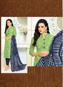 Arresting  Green Chanderi Printed Straight Suit
