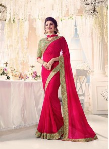 Artistic Georgette With Silk Embroidery Work Designer  Saree