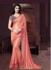 Artistic Peach  Embroidery  Work Silk Classic Saree