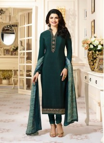Aspiring Green Color Crepe Straight Suit