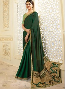 Aspiring Green Color Embroidery Work Calssic Saree