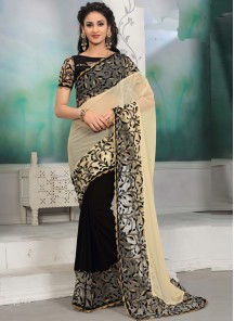 Astonishing Beige With Black Border Work Designer Half N Half Saree