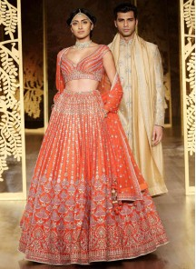 Astonishing Orange Embroidery Work Satin Lehenga Choli