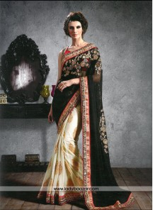 Astounding Patch Border Work Designer Saree