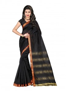 Attractive Black Color Cotton Silk Printed Saree
