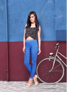 Attractive Blue Cotton Printed Leggings For Girls