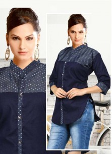 Attractive Blue Denim Printed Shirt For Girls