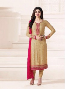 Attractive Embroidery Work Cream Color Churidar Suit