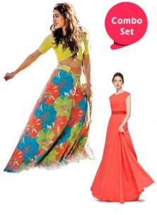 Attractive Gorgette Gown & Multi Colour Classic Lahenga Choli - Pack of 2