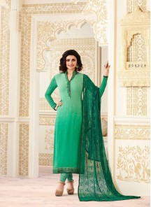 Attractive Green Georgette Printed With Embroidery Work Straight Salwar Suit