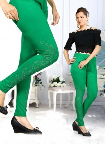 Attractive Green Stone Work Cotton Leggings For Girls