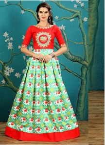 Attractive Green With Red Embroidery And Printed Work Designer Gown