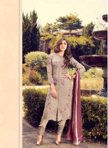 Attractive Grey Color Georgette Embroidery Work Pant Style Suit