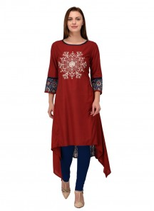 Attractive Maroon Rayon Embroidery Work Party Wear Kurti