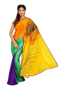Attractive Multi Color Bhagalpuri Silk Printed Saree