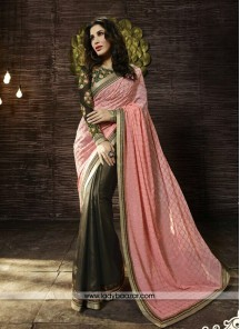 Attractive Patch Border Work peach Georgette Designer Saree