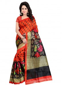 Attractive Red Color Bhagalputi Silk Printed Saree