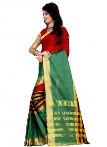 Attractive Red With Green Cotton Silk Casual Saree