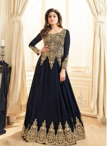 Attractive Resham Blue Anarkali Suit