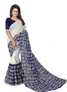 Attractive White N Blue Color Bhagalpuri Silk Saree