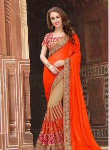 Auspicious Embroidered Work Georgette Half N Half Designer Saree