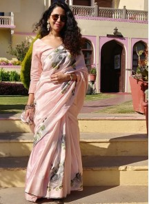 Auspicious Satin Silk Pink Designer Traditional Saree