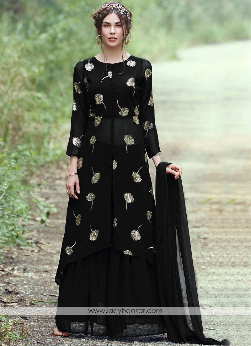 Awesome Black Georgette Zari Embroidered Skirt And Top Set