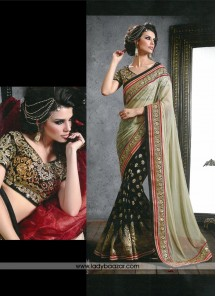 Awesome Net Sea Green Designer Saree