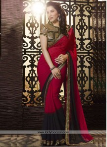 Baronial Georgette Embroidered Work Classic Designer Saree