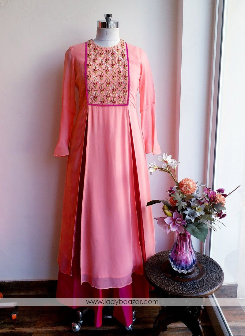Baronial Peach Faux Georgette With Tapeta Silk Ghera Embroidered Designer Suit