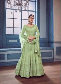 Beauteous Green Georgette  Anarkali Salwar Suit