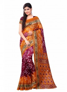 Beauteous Orange With Maroon Colour Printed Bandhani Saree