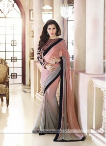 Beauteous Sophie Peach Georgette Designer Saree