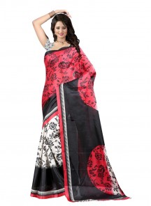 Beautiful Bhagalpuri Silk Pink With Red Printed Saree