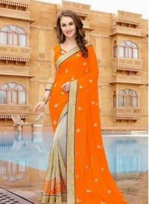 Beautiful Border Work Beige And Orange Half N Half Designer Saree
