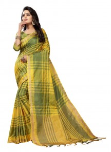 Beautiful Cotton Silk Casual Yellow Saree
