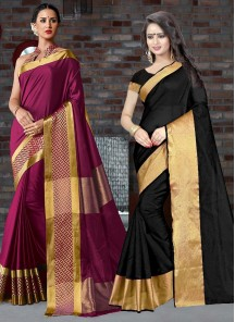 Beautiful Cotton Silk Printed Casual Saree Pack Of 2 Combo
