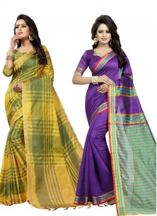 Beautiful Cotton Silk Printed Saree Pack Of 2 Combo