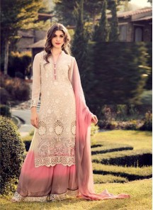 Beautiful Cream Georgette Embroidery Work Palazzo Style Salwar Suit