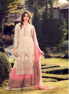 Beautiful Cream Georgette Embroidery Work Palazzo