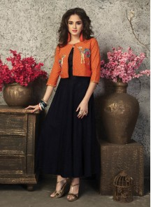 Beautiful Designer Wear Gown With Embroidery Work Jackets