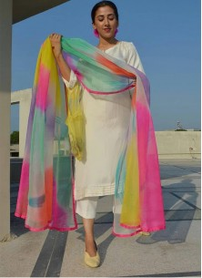 Beautiful Designer Wear White Palazzo Suit Along With Rainbow Printed Dupatta