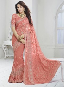 Beautiful Embroidery Work Orange Saree