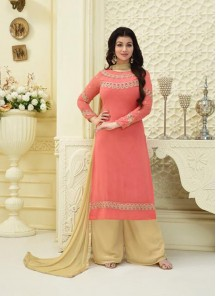 Beautiful Faux Georgette Orange Palazzo Salwar Suit