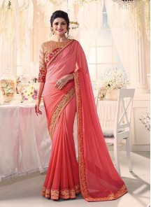 Beautiful Moss Chiffon Peach Embroidery Work Classic Saree